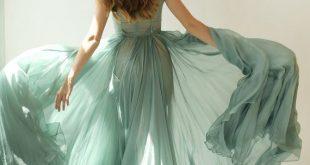 Colleen - long muted turquoise green silk chiffon dress