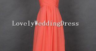 Coral Sleeveless Empire Strap V-neck Long Chiffon Dress Long Bridesmaid Dresses ...