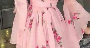 Floral Print Flared Sleeve Pleated Chiffon Dress