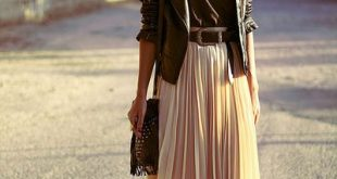 I adore everything about this outfit! a midi skirt and a leather jacket. Throw ...