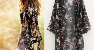 Jade Floral Long Luxury Kimono Chiffon Cardigan Blouse Top