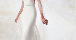 Magbridal Eye-catching Chiffon & Tulle Illusion High Collor Mermaid Wedding Dress With Beadings & Shawl