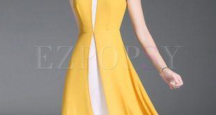Street Yellow Split Puff Sleeve Chiffon Dress