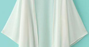 Women's White Elbow Sleeve Chiffon Cardigan Kimono Beach Cover up Blouse