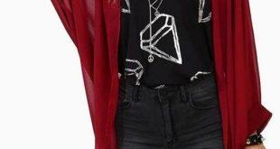 long red chiffon cardigan