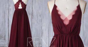 Bridesmaid Dress Burgundy Chiffon Wedding Dress Illusion Lace V Neck Maxi Dress Criss Cross Straps Party Dress A-Line Evening Dress (H586)