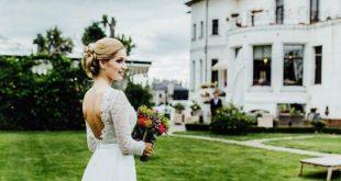 Long chiffon wedding dress, Bridal dress with floor length chiffon skirt, backless wedding dress