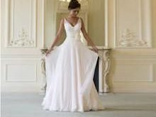 New A Line Tank V Neck FlowersHand Made Flower Chiffon Wedding Dress Bridal Gownvestidos de noiva