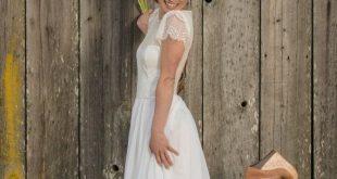 Romantic Bohemian Wedding Dress with Illusion Sweetheart Neckline, Chiffon Skirt, and Chantilly Eyelash Lace Cap Sleeves