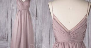 Rose Gray Chiffon Bridesmaid Dress Pleated Wedding Dress Spaghetti Strap Prom Dress Ruched V Neck Maxi Dress Long A-Line Party Dress(H505B)