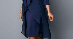 Round Neck Three Quarter Sleeve Chiffon Dress | Rotita.com - USD $30.95