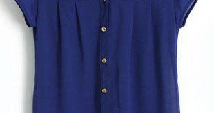 Blue Stand Collar Short Sleeve Buttons Chiffon Blouse - Sheinside.com