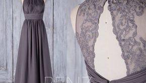 Bridesmaid Dress Dark Gray Chiffon Wedding Dress Illusion Lace Prom Dress Ruched Boat Neck Maxi Dress Backless A-Line Party Dress(H489A)