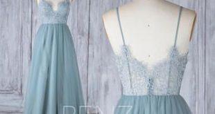 Bridesmaid Dress Dusty Blue Tulle Dress Wedding Dress Illusion V Neck Maxi Dress Open Back Lace Party Dress Sleeveless Evening Dress(LS390)