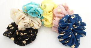 Chiffon Fabric Gold Foil Character Print Elastic Hair Scrunchies Hair Elastics Women hair accessories
