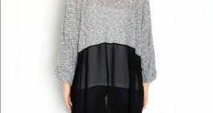 Gray & Black Knit Chiffon Long Cardigan NWT in original packaging. Knit top atta...