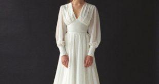 Long sleeve wedding dress Boho bishop sleeve wedding dress Bohemian V-neck wedding dress Chiffon wedding gown Modern minimalist dress THEIA