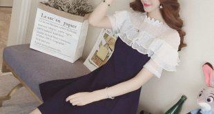 Seasonal New Wooden Ear Temperament Waist Dress In The Long Section Short-sleeved Mesh Stitching Chiffon Skirt
