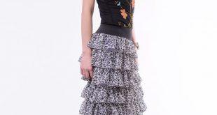 Tiered Ruffle Skirt • Bohemian Skirt • Long Skirt • Maxi Skirt • Animal Print • Gray Chiffon Skirt • Summer Skirt for Woman OOAK Party Skirt
