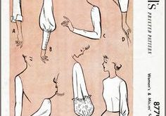 Vintage Nähkästchen Muster Vintage Schnittmuster der 1950er Jahre 50er Jahre Ärmel set 8 Stile Büste 34 b34 Französisch und Englisch Reproduktion