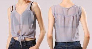 Women Stylish Summer Chiffon Shirt Sleeveless Irregular Strap Transparent Casual V-Neck Gray XXL