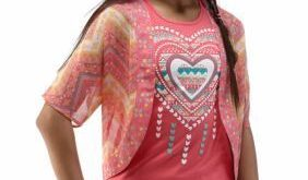Belle du Jour Heart Tank and Kimono Chevron Chiffon Cardigan Set Girls 7-16