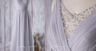 Bridesmaid Dress Light Gray Chiffon Dress Wedding Dress Illusion Ruched V Neck Maxi Dress Long Criss Cross Beaded Straps Party Dress(L126B)