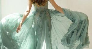 Colleen - long muted turquoise green silk chiffon dress On SALE - regular price ...