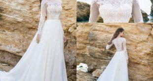 Long Sleeve White Lace Bodice Chiffon Skirt Elegant Simple Beach Wedding Dresses