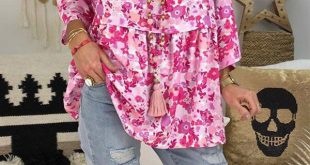 More styles for you!! V Neck Flower Printed Loose Blouse
