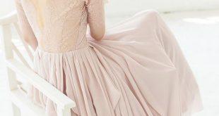 Pink Lace Back Chiffon Skirt Wedding Dress Chic pink lace back chiffon skirt we ...
