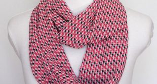 Pink and Navy Blue Infinity Scarf / Scarf Women Gift For Sister Geometric Scarf Gift For Coworker / Chiffon Scarf Women / Lightweight Scarf
