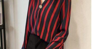 Spring V-Neck Shirt Women Long-Sleeve Casual Loose Large Size M-4Xl Shirt Striped Chiffon Shirt Femme Blouse Mz2585