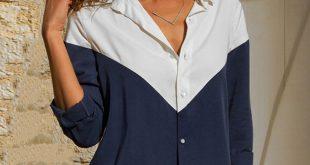 Trendy Color Contrast Long-sleeve Top