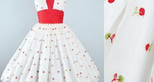 Vintage 50s Dress / 1950s Chiffon Fruit CHERRY EMBROIDERED Party Sundress Red Cherries Novelty Print Pinup Garden Picnic Cocktail Party XS