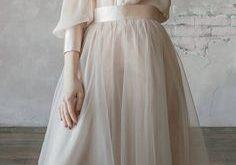 Vintage wedding dress from natural silk and blush tulle skirt. Victorian wedding dress, summer wedding dress, simple wedding dress 0134