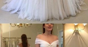 » Elegant Ball Gown Off the Shoulder Chiffon White Long Wedding Dresses, Fairy Wedding Dresses WD1023001
