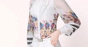 Plus Size Bowknot Collar Polka Dot Long Sleeves Loose Chiffon Blouse