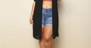 Plus-Size Fashion Pure Color Perspective Chiffon Cardigan