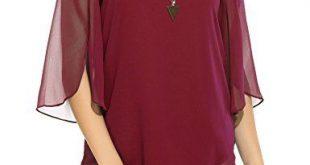Hount Women Casual Loose Pullover Chiffon Blouse 3/4 Sleeve Solid Chiffon Shirt ...