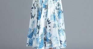 Skirts summer chiffon skirt floral high waist wild skirt a word big swing skirt elastic waist long section
