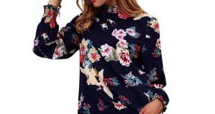 Chiffon Blouse Tops Flower Print Long Sleeve Ruffled Blouserricdress