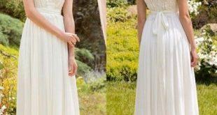 A-Linie/Princess-Stil Ärmellos V-Ausschnitt Chiffon Spitze Bodenlang Brautkleider
