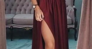 A-line Long Prom Dress With Slit School Dance Dress Fashion Winter Formal Dress YDP0286
