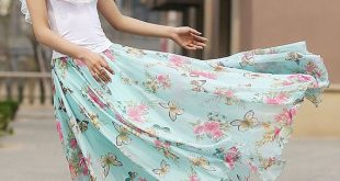 Blue floral print skirt woman chiffon skirt custom made long skirt summer maxi s...