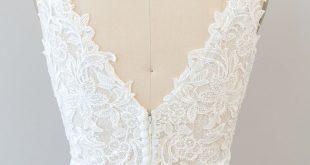 Bohemian Lace V Neckline wedding dress with flowy chiffon skirt