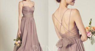 Bridesmaid Dress Rose Gray Chiffon Dress Wedding Dress Spaghetti Strap Prom Dress V Neck Maxi Dress with Tulle Sash A-Line Party Dress(H687)