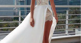 Buy discount Charming Lace & Satin Chiffon Sheer Jewel Neckline A-Line Wedding D...
