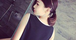 Casual White V Neck Sleeveless Black Side Chiffon Blouse Shirt Work Wear Women Tops