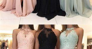 Charming Lace Halter Long Chiffon Split Evening Prom